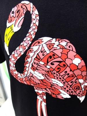 フラミンゴのスウェット風Tシャツ #BLACK