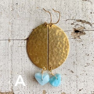 Larimar big harf moon earrings