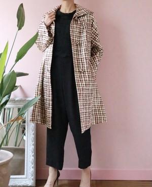 60's Satin fabric check coat