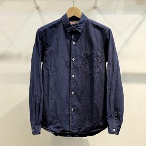 Circus of Happiness 高番手100双タイプライタークロス 製品染めシャツ ネイビー