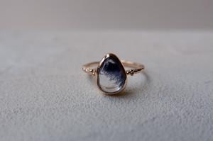 K10YG Dumortierite in quartz ring【デュモルチェライトインクォーツ】