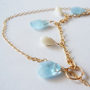 ◇aqua marine/white coral◇14kgf「sea side」ネックレス