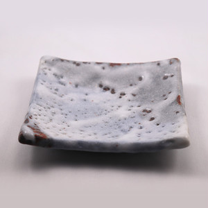 青志野 銘々皿 角  Blue Shino Small Serving Plate - Square