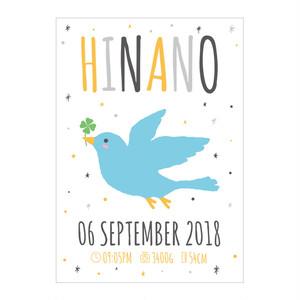 Baby Poster A4サイズ(21×29.7cm)青い鳥 ポスター プレゼント お祝い 出産祝い ベビーポスター お誕生日 青い鳥 命名ポスター