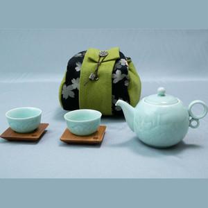 安達窯 茶器持運びセット(緑バック)
