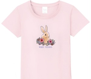 【送料無料】サイズ豊富★花とうさぎ Tシャツ