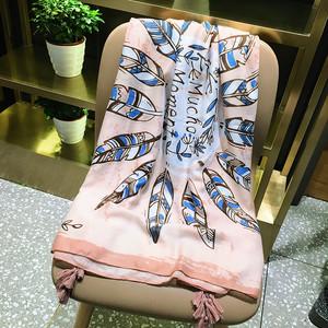 【スカーフ】ファッション動物柄ボヘミアンスタイルフリンジ総柄プリント配色レトロスカーフ22183823