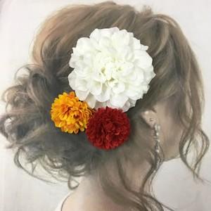 ホワイトダリア  マム  髪飾り