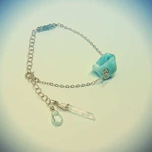 天然石✨カリブ海の宝石ラリマーシリーズ✨アクアマリンとラブラドライトのブレスレット✨