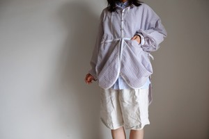 トリコロール ストライプ コットン オーバーサイズ シャツ・リボンと遊ぶ 大きな大きな プルオーバーシャツ/tricolore stripe cotton pullover shirt