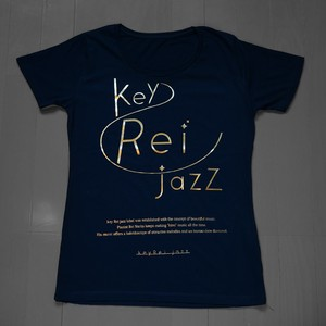 key Rei jazz T-shirts 半袖 黒×ゴールド箔