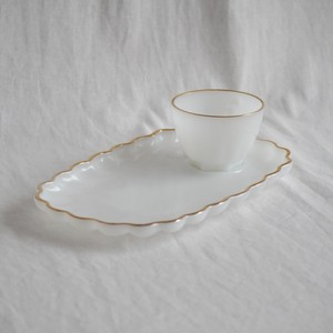 Vintage White Milk Glass Anchor Hocking Snack Set Gold Rimmed Plate and Cup