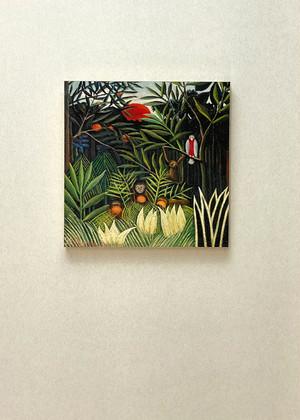 素敵なアートパネル 300mm角 原生林のサルとオウム アンリ・ルソー 石膏ボード用ひっかけ金具付き