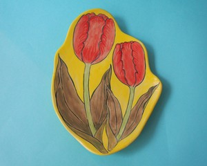 """Imustan 《赤チューリップ》 Plate/Wall Decoration  """"Red Tulips"""" by Imustan"""