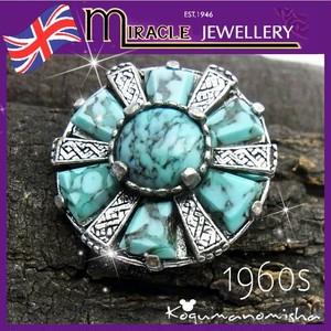 英国 MIRACLE ターコイズガラス ケルトの盾 ヴィンテージ ブローチ 1960s ケルティック