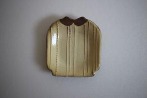 海野仁美|シャツ小皿 薄黄色 縦ストライプ