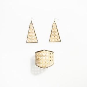 竹編みピアス 三角 / Bamboo Earrings Triangle