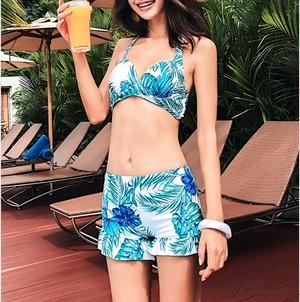 ビキニ 4点セット 体型カバー 花柄 リボン ショートパンツ ロングスカート Vネック フレアスリーブ 半袖 ホルターネック 水着 レディース ビキニ
