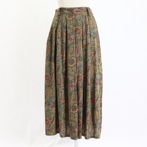 Vintage 80's USA【Robyn】Green Flower Paisley Pattern Flare Long Skirt アメリカ 80年代 ヴィンテージ フラワー ペイズリー柄 ロング フレア スカート