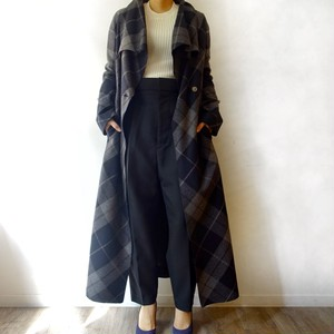 Miki MIALY / wool check long coat