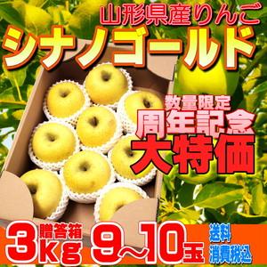 ☆☆大特価☆☆山形県産リンゴ「シナノゴールド(贈答用3kg)」