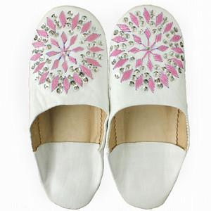 バブーシュ刺繍スパンコール S2白x603ピンクxオーロラ