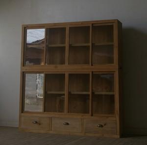 引き出し3杯◆古い重ね8枚ガラス戸棚 YZ2199