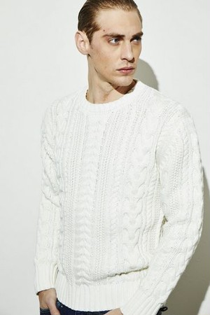 Cable Crew-neck Pullover WHITE
