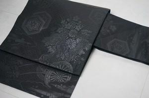 未使用品 正絹 九寸名古屋帯 花車 黒 リユース 022