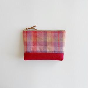 手織りリネンポーチ ミックスベリー(16cm Linen mixed berry #3)