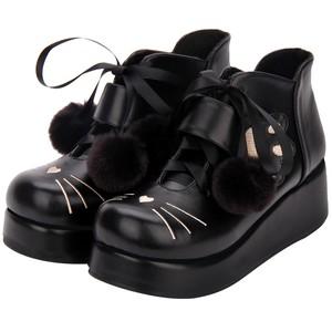 01TA145 ねこちゃん ポンポンリボン付き 厚底ブーツ ショートブーツ ブーツ ブラック リボン付き 厚底 ねこ ロリータ アンクルベルト ラウンドトゥ 歩きやすい 足が疲れにくい ゆめかわ キッズサイズ 小さめサイズ 韓国ファッション オルチャン トレンド プチプラ かわいい おしゃれ