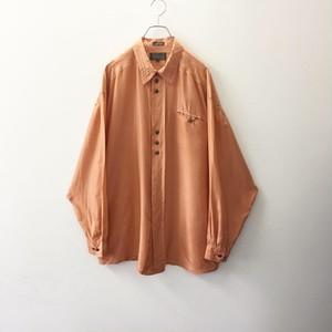 Bugatchi シルクシャツ サーモンピンク size XL メンズ 古着