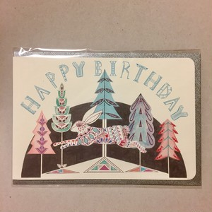 Leaping Rabbit in the Forest Card * HAPPY BIRTHDAY