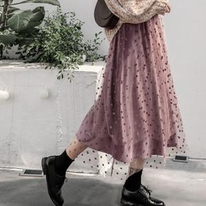 【お取り寄せ商品】ベルベットドットスカート 9573