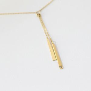 ロッド K10イエローゴールド  ダイヤモンド2ロッドネックレス