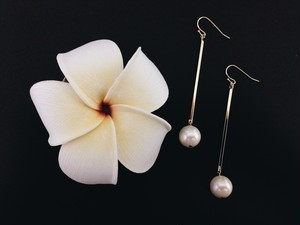 〈大人気〉goldplate pearl pierce