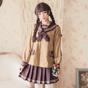 9903ロリータ衣装 ロリータ服 レディース 可愛い 少女風 Lolita 学生制服jk マリン風 セーラージャケット ショートプリーツスカート