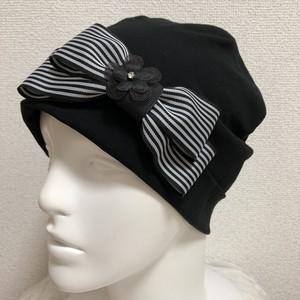 ストライプリボンのケア帽子 黒