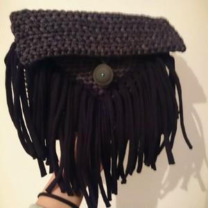 手編み オルテガバッグ ズパゲッティ クラッチバッグ&ポシェット タッセル コンチョバッグ