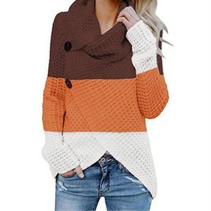 【トップス】レディースファッション写真通り秋冬長袖配色ハイネック不規則切り替えゆったり大きいサイズカジュアルニットTシャツ24812609