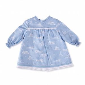 【Baby】出産祝いに|ベビーワンピース ライトブルー|ニャコ