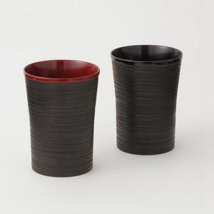 香川漆器 象谷ビアカップ ペアセット 朱&黒 中田漆木