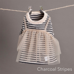 TuTu Tiered T-shirts Charcoal stripes/Nude Tutu