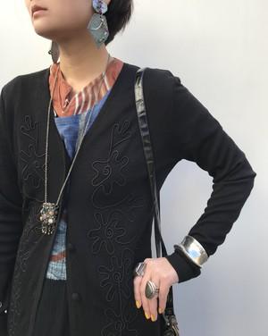 Vintage black embroidery haori ( ヴィンテージ  ブラック 刺繍 羽織り)