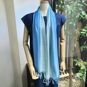 手染めスカーフ グラデーション 水色
