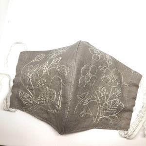 花と小鳥マスク(グレーベージュ 単色刺繍)予約販売