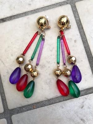Vintage red × green × purple long earrings ( ヴィンテージ レッド × グリーン × パープル ロング イヤリング  )