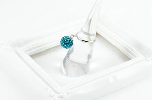 ラインストーンパヴェボール ピンキーリング ターコイズブルー pve-ringturquoiseblue1 指輪 パヴェ