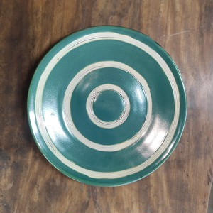 尺1寸洋皿(1枚焼)/オーグスヤ櫛描き(緑)