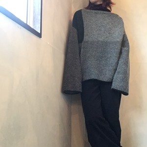 【 L'ANIT 】ラニット カラーコンビネーションニット / knit / BLK,L.GRY,M.GRY